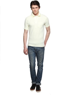 Tempt Embroidered Men's Polo Neck Yellow T-Shirt