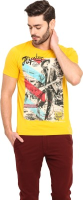 Mode Vetements Printed Men's Round Neck Yellow T-Shirt