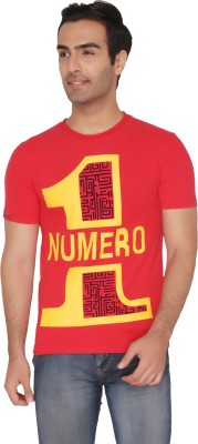 Again Vintage Printed Men's Round Neck Red T-Shirt