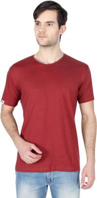 Threads & Pals Solid Men's Round Neck Maroon T-Shirt