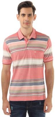 Monte Carlo Striped Men's Polo Neck Pink, White T-Shirt