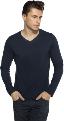Pepperclub Solid Men's V-neck Dark Blue T-Shirt