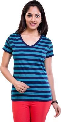 TVENO Striped Women's V-neck Dark Blue T-Shirt