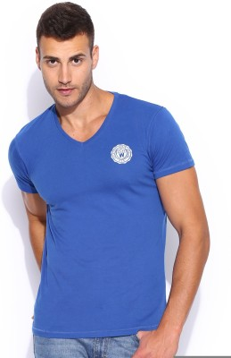 Wrangler Solid Men's V-neck Blue T-Shirt