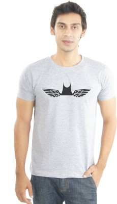 Lacrafters Graphic Print Men's Round Neck Grey T-Shirt