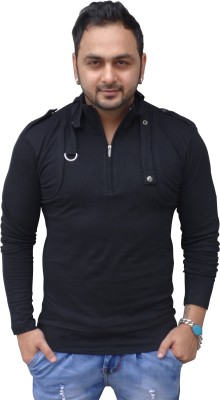 Black Collection Solid Men's Flap Collar Neck T-Shirt