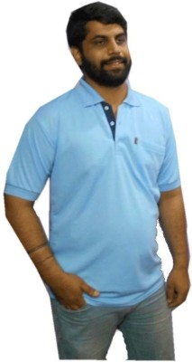 Brandrace Solid Men's Polo Neck Blue T-Shirt