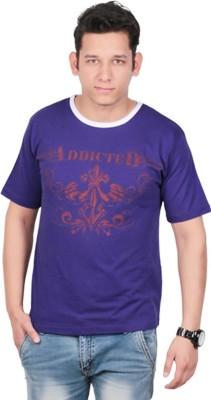 KASTURI Printed Men's Round Neck Purple T-Shirt