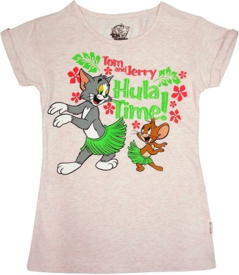 Tom & Jerry Printed Girl's Round Neck Pink T-Shirt
