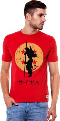 Hefty Printed Men's Round Neck Red T-Shirt
