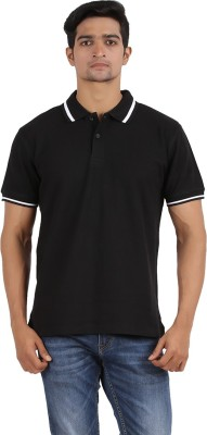 Anytime Solid Men's Polo Neck Black T-Shirt
