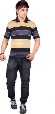 Dearclass Striped Men's Polo Neck Black T-Shirt