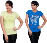 Fine Colors Printed Women's Round Neck L...