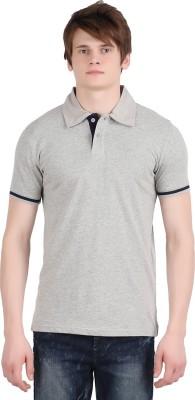 Moonwalker Solid Men's Polo Neck Grey T-Shirt