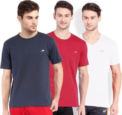 2go Solid Men's Round Neck Blue, White, Red T-Shirt