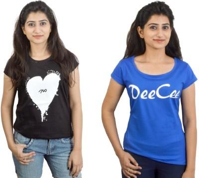 EEIA Printed Women's Round Neck Black, Blue T-Shirt
