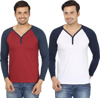 Jangoboy Solid Men,s V-neck Maroon, White T-Shirt