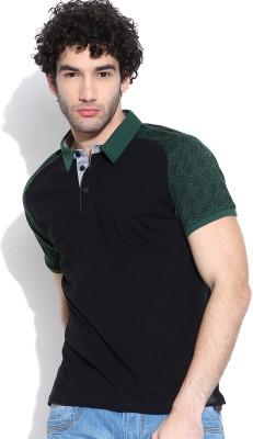 Cult Fiction Solid Men's Polo Black T-Shirt