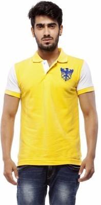 Trendy Bandey Solid Men's Peter Pan Collar Yellow T-Shirt