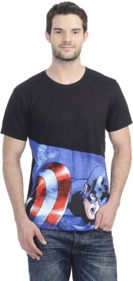 Captain America Printed Men's Round Neck Black T-Shirt
