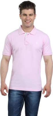 The Cotton Company Solid Men's Polo Neck Pink T-Shirt
