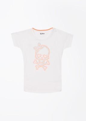 Gini & Jony Solid Girl's Round Neck White T-Shirt