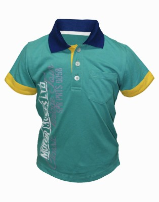 Cool Quotient Graphic Print Boy's Polo Neck Light Green T-Shirt