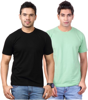 Top Notch Solid Men's Round Neck Black, Light Green T-Shirt
