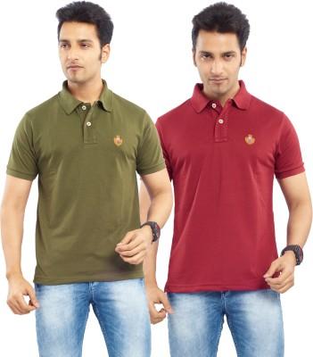 Passport Solid Men's Polo Neck Green, Maroon T-Shirt