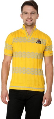 Zeco Woven Men's Polo Neck Yellow T-Shirt