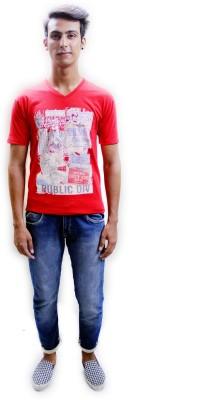 Red Mango Printed Men's V-neck T-Shirt
