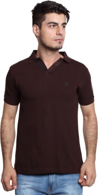 Youthen Clothing Co. Solid Men's Polo Neck Brown T-Shirt