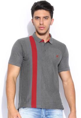 HRX Solid Men's Polo Grey T-Shirt