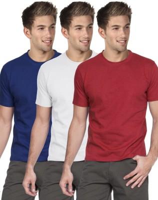 Blackburne Inc Solid Men's Round Neck Blue, White, Red T-Shirt