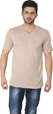Ebry Solid Men's V-neck Beige T-Shirt