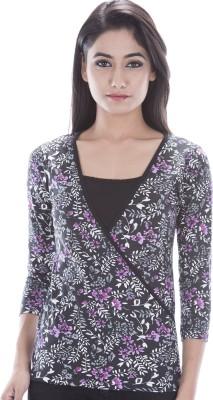 Peppermint Blues Floral Print Women,s V-neck T-Shirt