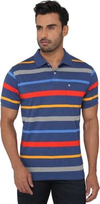 Greenfibre Striped Men's Polo Neck Blue T-Shirt