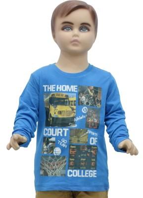 Urban Forest Graphic Print Boy's Round Neck Blue T-Shirt