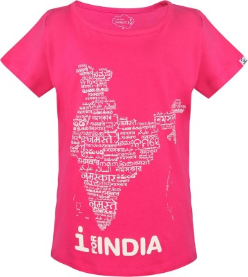 Imagica Printed Baby Girl's Round Neck Pink T-Shirt