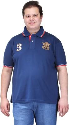 PlusS Solid Men's Polo Neck Dark Blue T-Shirt