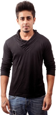 Sciocco Solid Men's Draped Neck Black T-Shirt