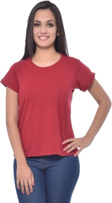 Frenchtrendz Solid Women,s Round Neck Maroon T-Shirt