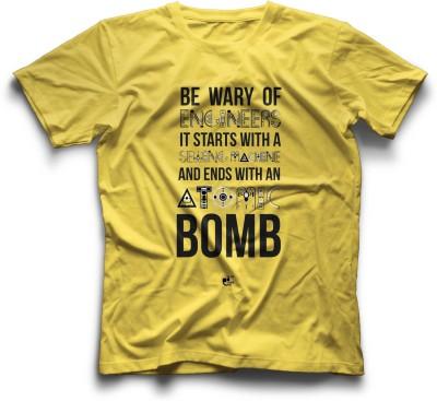 Thinkpop Printed Men's Round Neck Yellow, Black T-Shirt