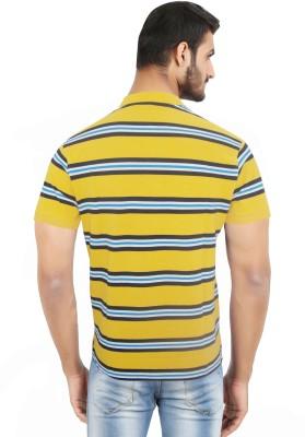 Hoodz Striped Men's Polo Neck Yellow T-Shirt
