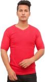 Protex Self Design Men's V-neck Red T-Sh...