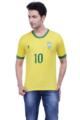 DINAAR Printed Men's Round Neck Yellow, Green T-Shirt