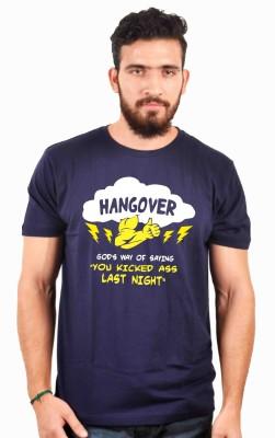 Sukhiaatma Graphic Print Men's Round Neck Dark Blue T-Shirt