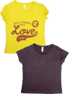 Fiore Printed Girl's Round Neck T-Shirt