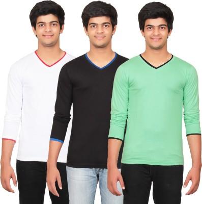 Graceful Self Design Men's V-neck Black, White, Green T-Shirt