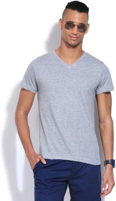 People Solid Men's V-neck Grey T-Shirt